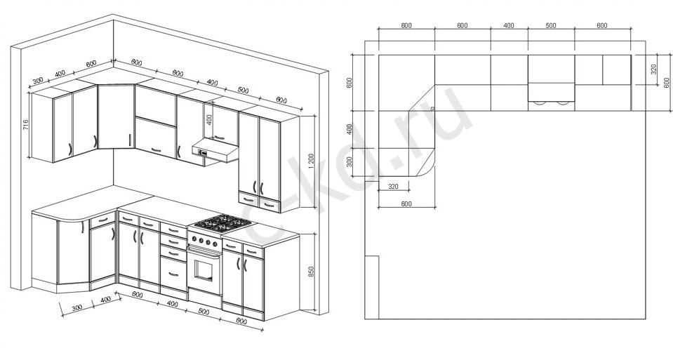 Схемы кухонь с размерами